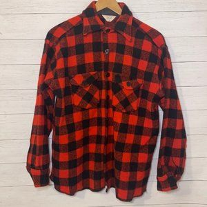 Vintage 70's Frost Proof Heavyweight Wool Red Black Buffalo Plaid Flannel Shirt